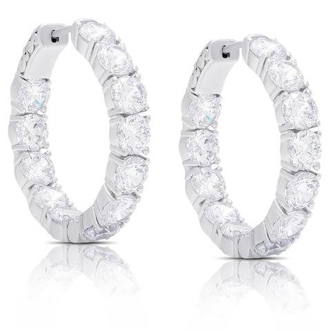 Dolce Giavonna Sterling Silver Cubic Zirconia Hoop Earrings