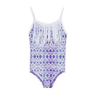 Famous Maker Girls' Blue Tribal One Piece with White Fringe