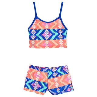 Dippin' Daisy's Girls' Blue Native Two Piece Tankini with Boyshorts