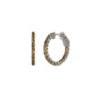 Sterling Silver Round Citrine Inside-Out Core Lock Hoop Earrings