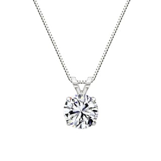 Sterling Silver 1CTtw 6mm Round-cut Solitaire Pendant Made with Swarovski Zirconia