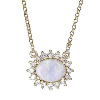Anika and August 14k Yellow Gold Oval-cut Australian Opal and 1/3ct TDW Diamond Pendant (G-H, I1-I2)