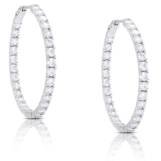 Link to Dolce Giavonna Sterling Silver Cubic Zirconia Hoop Earrings Similar Items in Earrings
