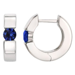 Sterling Silver Round Lab-created Blue Sapphire Saddleback Hoop Earrings
