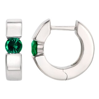 Sterling Silver Round Lab-created Emerald Saddleback Hoop Earrings