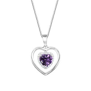 Sterling Silver Heart Shaped Amethyst and Lab-Created White Sapphire Halo Pendant Necklace