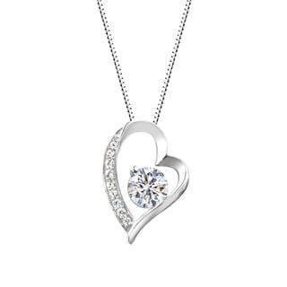Sterling Silver Round Lab-Created White Sapphire Heart Pendant Necklace