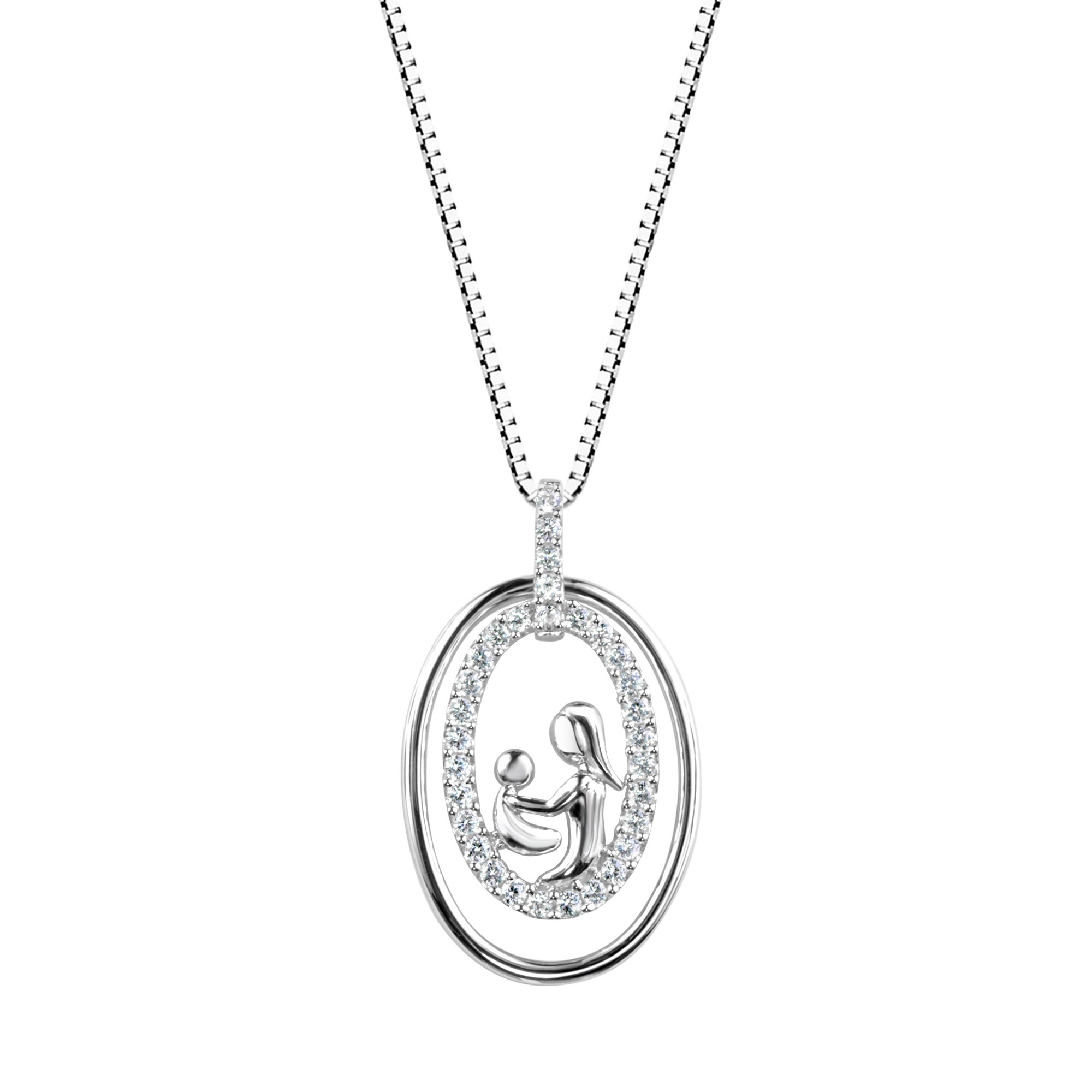 Sterling Silver Lab-created White Sapphire Mother and Chi...