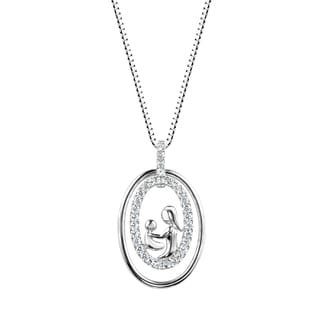 Sterling Silver Lab-created White Sapphire Mother and Child Pendant Necklace