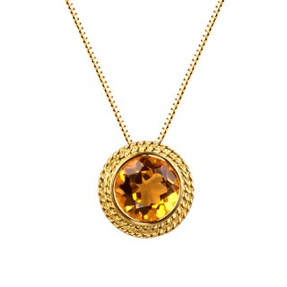 14k Yellow Gold Plated Citrine Gemstone Pendant Necklace