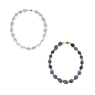 16mm White or Peacock Black Freshwater Cultured Baroque Pearl Necklace with 18K Yellow Gold Plated Beads and Ball Clasp