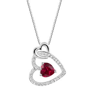 Sterling Silver Lab-created Ruby and White Sapphire Heart Pendant Necklace