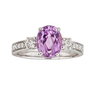 Anika and August 14k White Gold Oval-cut Afghan Kunzite and 2/5ct TDW Diamond Ring (G-H, I1-I2)