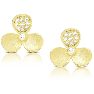 Samantha Stone Gold Over Sterling Silver Cubic Zirconia Flower Stud Earrings