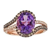 Anika and August 10k Rose Gold Oval-cut African Amethyst and 1/4ct TDW Diamond Ring (G-H, I1-I2)