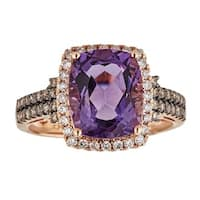Anika and August 14k Rose Gold Cushion-cut African Amethyst and 1/2ct TDW Diamond Ring (G-H, I1-I2)