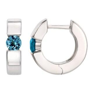 Sterling Silver Round Swiss Blue Topaz Saddleback Hoop Earrings