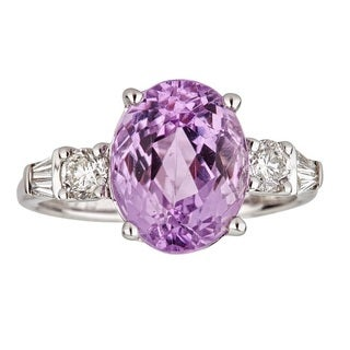 Anika and August 14k White Gold Oval-cut Afghan Kunzite and 1/2ct TDW Diamond Ring (G-H, I1-I2)