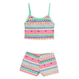 Dippin' Daisy's Girl's Multi Kingdom Two Piece Tankini with Boyshorts