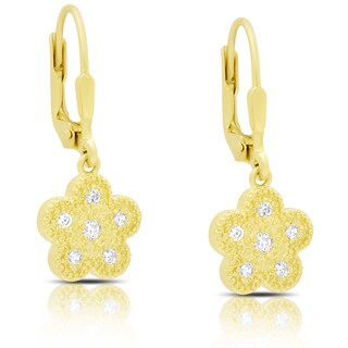 Samantha Stone Gold Over Sterling Silver Dangling Cubic Zirconia Flower Design Earrings