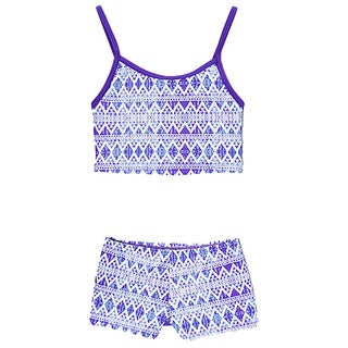 Dippin' Daisy's Girls' Blue Tribal Two Piece Tankini with Boyshorts