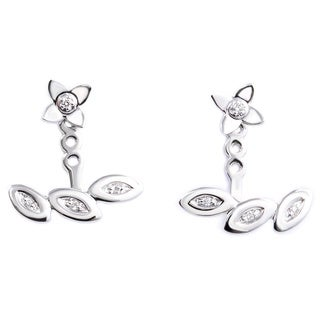 Kabella 14k White Gold 1/6ct TDW Diamond Adjustable Stud and Ear Jacket Earring Set