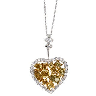 Kabella 18k White Gold 1 1/2ct TDW Fancy Yellow and White Diamond Heart Pendant (G-H, SI1-SI2)