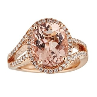 Anika and August 14k Rose Gold Oval-cut Mozambique Morganite and 3/8ct TDW Diamond Ring (G-H, I1-I2)