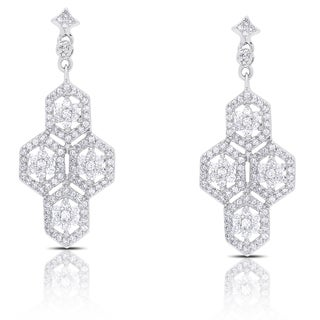 Samantha Stone Sterling Silver Dangling Cubic Zirconia Flower Design Earrings