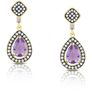 Samantha Stone Gold Over Sterling Silver Cubic Zirconia and Simulated Amethyst Teardrop Earrings