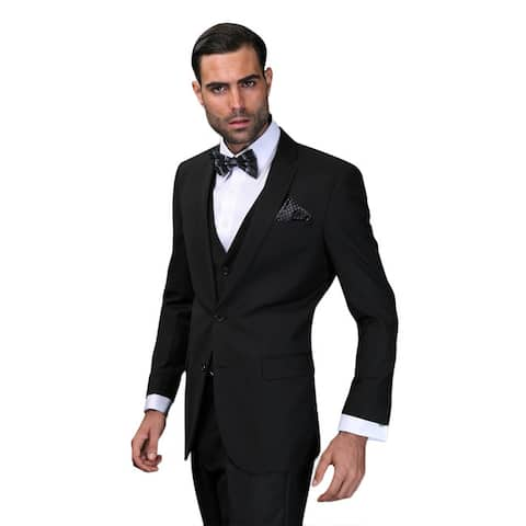 Lorenzo Men's Black Statement Suit in 36S (As Is Item)
