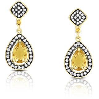 Samantha Stone Gold Over Sterling Silver Cubic Zirconia and Simulated Citrine Teardrop Earrings