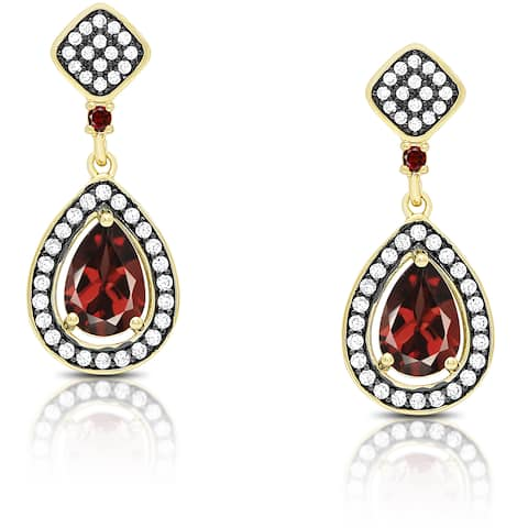 Samantha Stone Gold Over Sterling Silver Cubic Zirconia and Simulated Garnet Teardrop Earrings