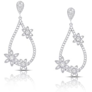 Samantha Stone Sterling Silver Teardrop Cubic Zirconia Flower Design Earrings