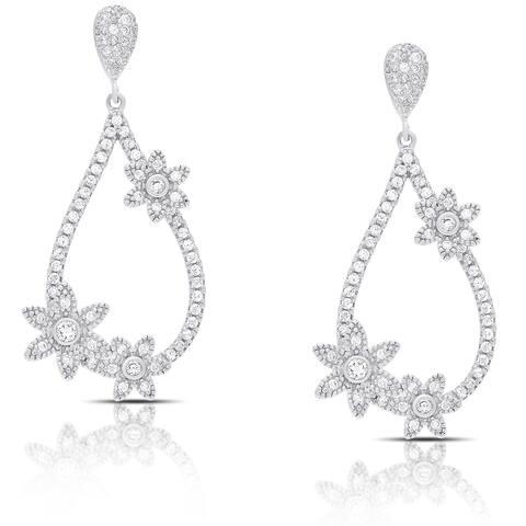 Samantha Stone Sterling Silver Teardrop Cubic Zirconia Flower Design Earrings