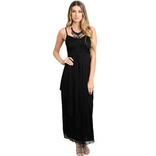 Shop the Trends Women's Spaghetti Strap Empire Waist Chiffon Gown
