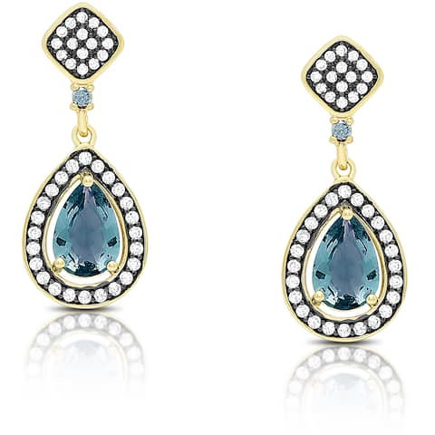 Samantha Stone Gold Over Sterling Silver Cubic Zirconia and Simulated London Blue Topaz Teardrop Earrings