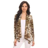 MOA Collection Women's Brown Abstract Print Open Cardigan