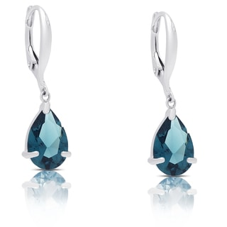 Dolce Giavonna Sterling Silver Simulated London Blue Topaz Teardrop Leverback Earrings