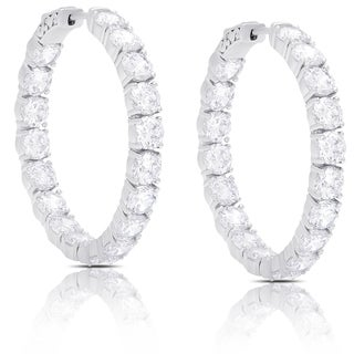 Dolce Giavonna Silver Overlay Cubic Zirconia Hoop Earrings