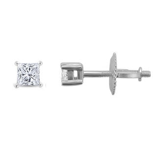 Montebello Jewelry Platinum 1/3ct TDW Princess-cut Diamond Solitaire Stud Earrings