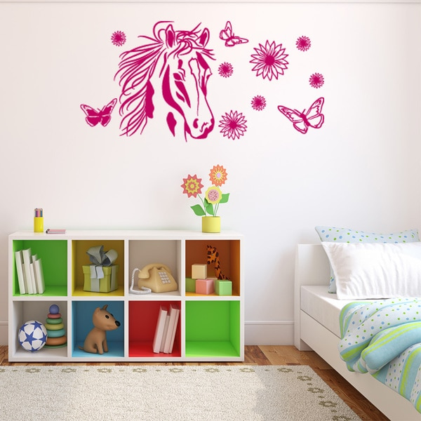 Flower Horse Wall Decal Vinyl Art Home Decor Free