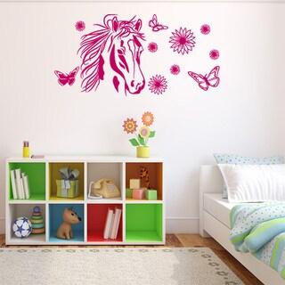 Flower Horse Wall Decal Vinyl Art Home Decor