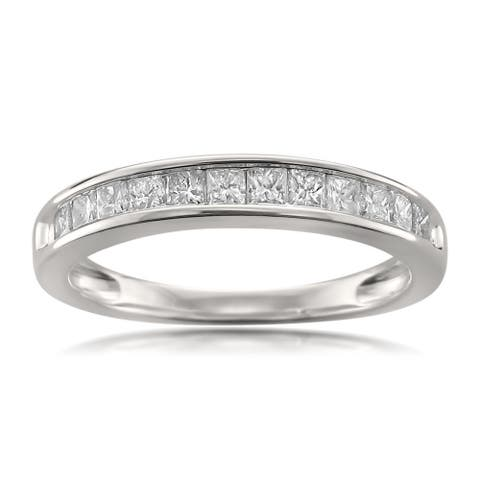 Montebello Jewelry 14k White Gold 1/2ct TDW Princess-cut White Diamond Wedding Band