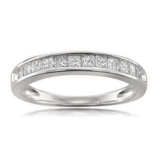 Montebello Jewelry 14k White Gold 1/2ct TDW Princess-cut White Diamond Wedding Band (H-I, I1-I2)