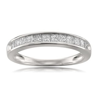 Montebello Jewelry 14k White Gold 1/2ct TDW Princess-cut White Diamond Wedding Band
