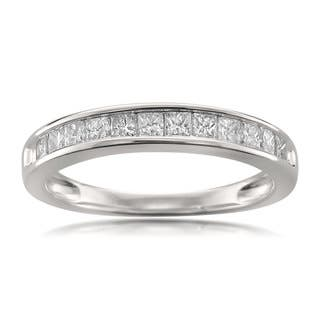 Montebello Jewelry 14k White Gold 1/2ct TDW Princess-cut White Diamond Wedding Band|https://ak1.ostkcdn.com/images/products/11706983/P18629932.jpg?impolicy=medium