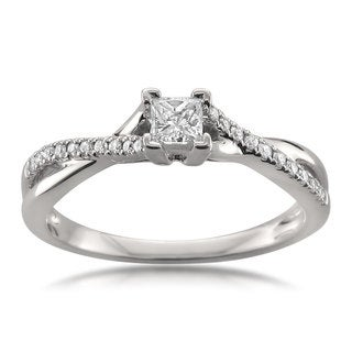 Montebello Jewelry 14k White Gold 1/4ct TDW Princess-cut Diamond Engagement Ring