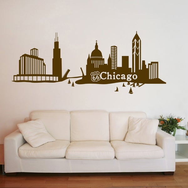 Chicago Home Decor Stores: Shop Chicago City Skyline Cityscape Wall Decal Vinyl Art