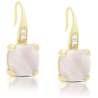Dolce Giavonna Gold Over Sterling Silver Cubic Zirconia and Rose Quartz Dangle Earrings
